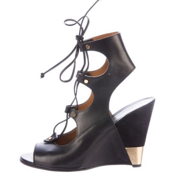 Chloe Shoes - CHLOE LACE UP WEDGE SANDALS 38 1 2 07264441c64